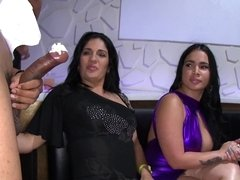 Stripper is getting his cock sucked as he is performing for girls