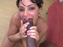 Sexy Latina with sizable tits gets cum on her face from a dude