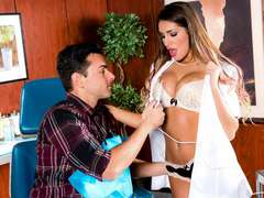 August Ames in uniform railed by patient