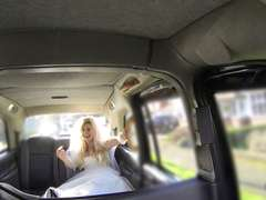 Beautiful runaway bride fucks in the taxi with another guy