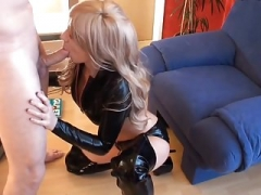 Glamorous Hoe In Black Latex Top and Thigh Boots Fucked and Breast
