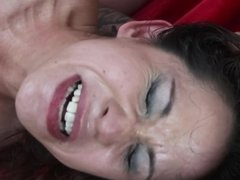 Kinky brunette bitch in red fishnets gets slammed hard by her man