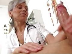 Medical CFNM handjob with European wife Beate