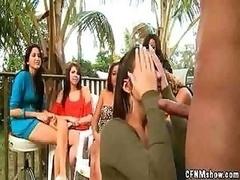 Strange brunette in cock sucking contest gets a hard ramrod face cumshot