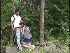 Japanese 18-19 year old goes into the woods to suck on that hard cock
