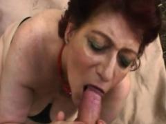 Redhead girl taking care of big love pole