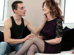 Brunette aroused granny desires to swallow that bulky member before getting it between her legs in a number of poses