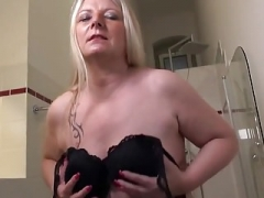 Slutty German Housewife Playing In Her Bathroom