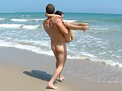 Young tourist get pounded on the beach