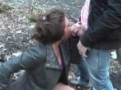 Public blowjobs in the park from a naughty Euro slut