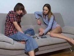 Teen cuties having an intercourse on the couch
