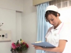 Asiatic nurse deals extra large penis betwixt the lips