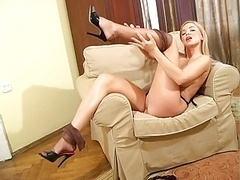 Breasty blond FF stockings high heel mules
