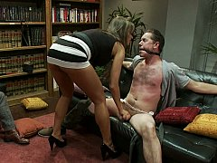 Convivial wife cuckolds her husband while neighbor watches