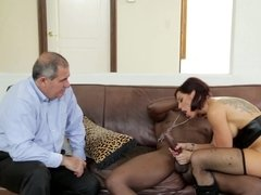 A hot harlot that loves black cock is fucking before a cuckold