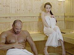 最高, 美女, オマンコ, 馬乗り, ロシア人, サウナ, 剃毛, オッパイの