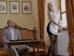 Erstaunlich, Schlafzimmer, Blondine, Fingern, Hotel, Lingerie, Hausmädchen, Strümpfe