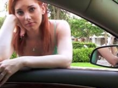 Breasty ginger 18-19 year old cockriding in car