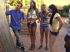 Around the neighborhood with three horney babes