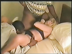 Wife gets creampied by immense ebony prick