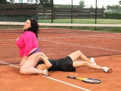 Rotund big beautiful women sixtynining on the tennis court