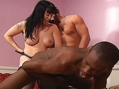 Bisexual interracial strapon 3-way