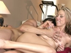 A blonde that has a nice set of tits is fucked on the bed