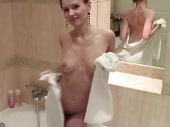 Lia taking a shower