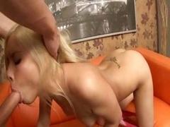 Wonderful sex with blonde german on a sofa