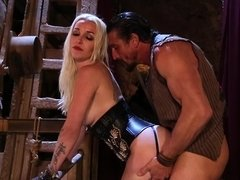 A blonde with a sexy ass is in a mineshaft, getting fucked