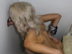 Platinum Blonde Bimbo Giving oral sex And Fucked At Glory Hole