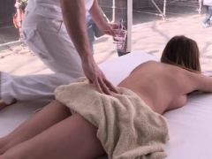 Big-breasted european titfucks in public after massage
