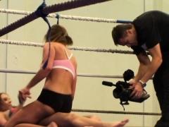 Cum bucket loving babe enjoys naked wrestling