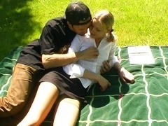 Blond teen banged by three guys outside