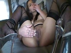 Angel Rivas in black stockings