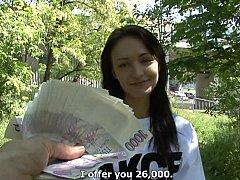 Leie, Braunhaarige, Tschechisch, Europäisch, Geld, Öffentlich, Muschi, Reiten
