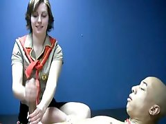 Naked lad is pinioned for a one on one Kitten Scout solo play