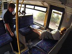Sleepy babe woken and fucked hard in the bus