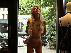 Euro babe gets tied outside where everyone can see