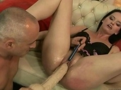Aged guy fingering and toying young-looking love hole