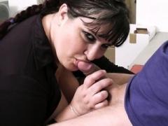 Breasty secretary spreads legs for boss