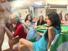 Thick stripper cock inspires the hot party girls to suck it