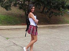 美女, 茶髪の, 現実, 女子高生, スカート, ティーン, 三人, ユニフォーム