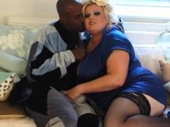 Blonde Real bbw Kirstyn Halborg Swallows Sizeable Black Cock