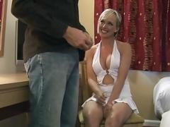 Breasty CFNM non-pro sensually munching on cock