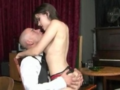Brunette college slut fucked by hairless lad