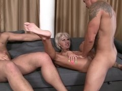 A blonde that loves to ride cock is getting penetrated on the sofa