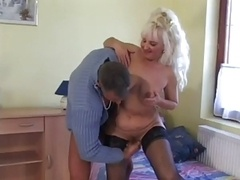 Hot Blonde Euro Granny Assbanged in Stockings