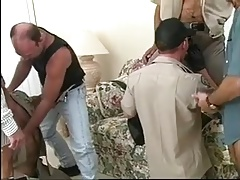 Hairy gay sheriffs suck each other's cocks