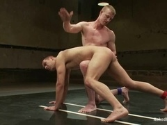 A nude fag gets his ass spanked and fucked on tatami